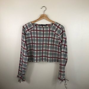 ZARA beige red plaid cropped blouse size medium